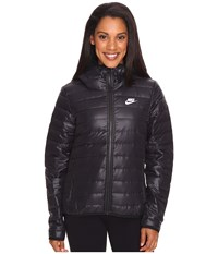 Nike Sportswear Down Fill Hooded Jacket Black Black White Women's Coat