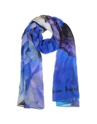 Laura Biagiotti Roses Print Silk Stole Blue