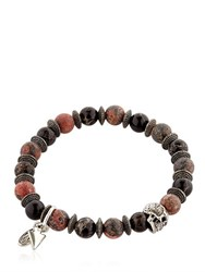 Bootleggers Black Onyx And Red Leopard Beaded Bracelet