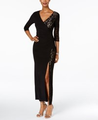 R And M Richards Lace Faux Wrap Dress Black