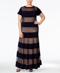 R And M Richards Plus Size Illusion Striped Gown Navy Taupe