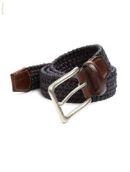 Saks Fifth Avenue Braided Leather Belt Navy