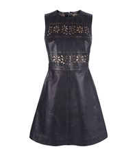 Red Valentino Laser Cut Flower Leather Dress Female