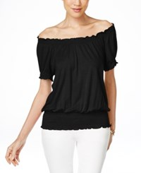 Inc International Concepts Smocked Waist Off Shoulder Peasant Blouse Only At Macy's Deep Black
