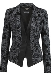 Just Cavalli Satin Trimmed Printed Velvet Blazer Black