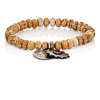 Miracle Icons Men's Pietersite Rondelle And Charm Bracelet Brown
