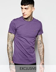 Farah T Shirt With F Logo Slim Fit Exclusive Purple