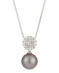 Belpearl 18K White Gold Stationary Tahitian Black Pearl Pendant Necklace W Mixed Cut Diamonds Women's