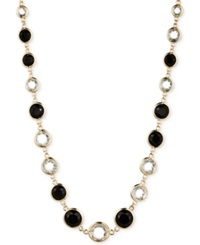 Anne Klein Gold Tone Jet And Glass Stone Long Necklace