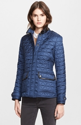 Burberry 'Lunesbury' Leather Trim Quilted Jacket Steel Blue