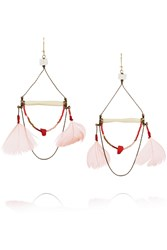 Etro Gold Plated Bone Coral Shell And Feather Earrings Pink