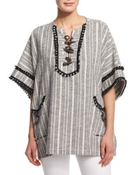 Derek Lam 10 Crosby Striped Toggle Front Poncho Midnight Soft White Women's Size Xs S Black Soft Wht