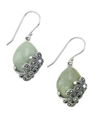 Lord And Taylor Jade Sterling Silver Drop Earrings Green