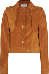 Frame Denim Le Cropped Trench Suede Jacket Tan