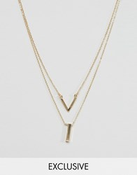 Designb London Geometric Necklaces In 2 Pack Gold