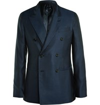 Caruso Navy Slim Fit Double Breasted Silk Blazer