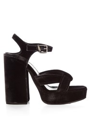 Jil Sander Velvet Cross Strap Platform Sandals Dark Grey