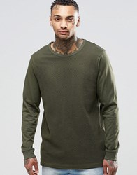 Asos Longline Long Sleeve T Shirt With String Mesh Panel Khaki Green
