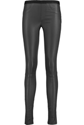 Helmut Lang Stretch Leather Leggings Gray