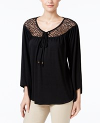 Ny Collection Lace Yoke Peasant Top Black