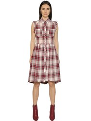 Diesel Plaid Cotton And Linen Shirt Dress