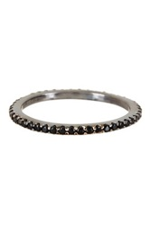 Hand Set Black Simulated Diamond Thin Eternity Band