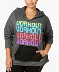 Material Girl Plus Size Squad Graphic Hoodie Only At Macy's Charcoal