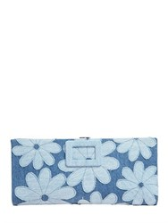 Roger Vivier Flower Embroidered Cotton Denim Clutch