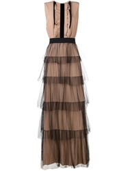 N 21 No21 Tiered Evening Dress Nude And Neutrals