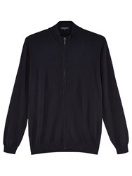 Aquascutum London Tomkis Merino Wool Cardigan Navy