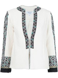 Derek Lam 10 Crosby Embroidered Fitted Jacket White