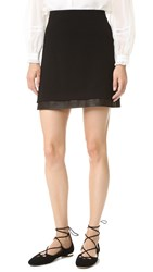 Alice Olivia Darcie Leather Combo Miniskirt Black