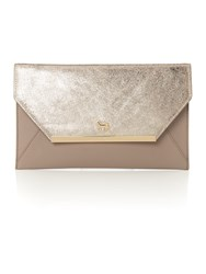 Lamb 1887 Clarence Gold Grey Envelope Clutch Bag Gold