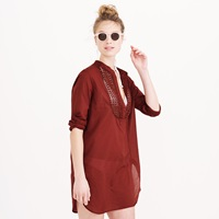 J.Crew Lightweight Gauze Beach Tunic With Eyelet Bib