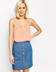 Vero Moda Lace Detail Cami Top Peach