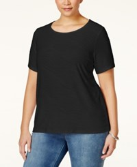 Jm Collection Woman Jm Collection Plus Size Textured Jacquard T Shirt Only At Macy's Deep Black