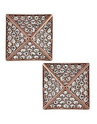 Vince Camuto Rose Goldtone And Crystal Pyramid Stud Earrings