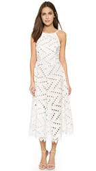 Line And Dot Geo Lace Dress White