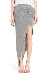 Pam And Gela Women's Ruched Asymmetrical Maxi Skirt Heather Grey