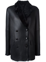 Joseph Double Breasted Shearling Peacoat Blue