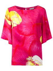Isolda Silk Floral Print Blouse Pink And Purple
