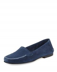 Manolo Blahnik Speed Suede Moccasin Flat Capri Blue Denim Blue