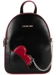 Love Moschino Heart Chain Small Backpack Black
