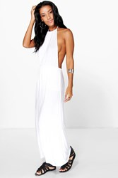 Boohoo Halterneck Bandeau Maxi Dress White