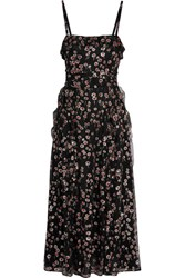 Valentino Ruffled Glittered Silk Georgette Midi Dress Black