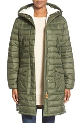 Save The Duck Quilted Coat With Removable Faux Shearling Liner Cypress Green Off White