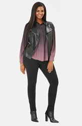 Mynt 1792 Faux Leather Moto Vest Plus Size Black