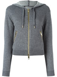 Burberry London Cropped Hooded Cardigan Grey