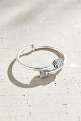 Urban Outfitters Retro Edge Lock Bangle Bracelet Silver