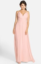 Women's Jim Hjelm Occasions Draped V Neck Chiffon Gown Blush